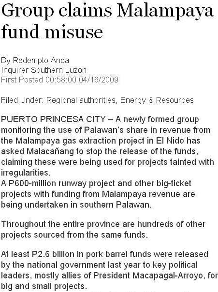 PDI MALAMPAYA FUND MISUSE SCREENSHOT