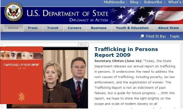 HILLARY PRESENTING HUMAN TRAFFICKING REPORT