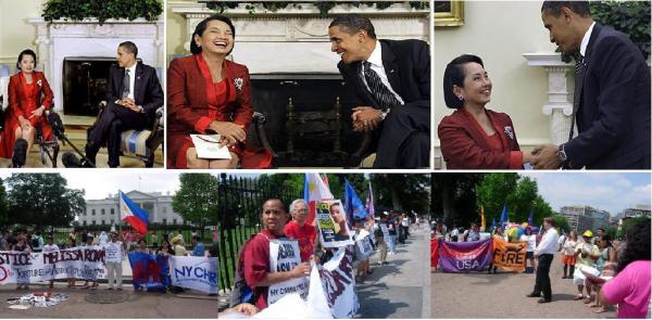 OBAMA-ARROYO SUMMIT AND WH PROTESTERS MONTAGE