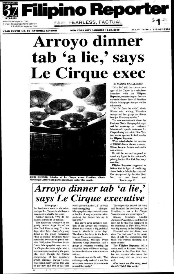 Filipino Reporter ON lE cIRQUE DINNER