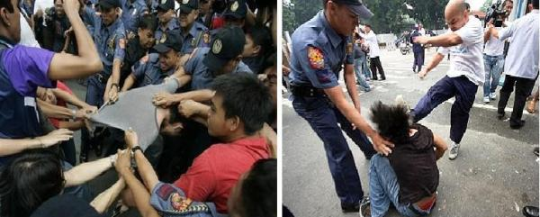 POLICE BRUTALITY OUTSIDE MALACANANG MONTAGE