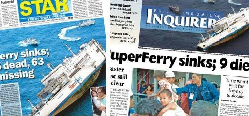 pdi and philstar page one superferry sinks 20090907
